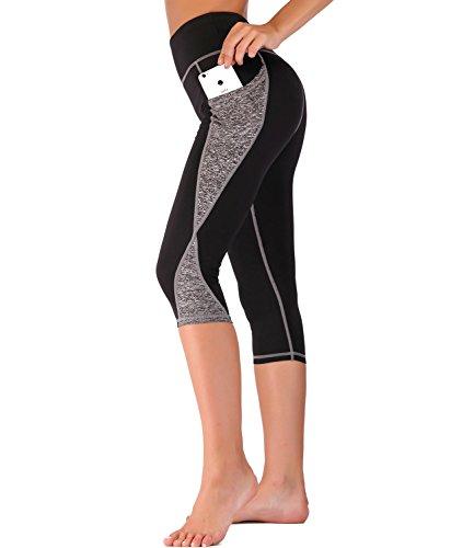 IMIDO Women's Yoga Capri Pants Sport Tights Workout Running Leggings with Side Pocket (XL, Grey Capri ()