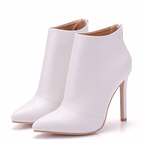 GAIHU Marriage Bride Dress ladies leather footwear boots know has high heel evening spring of the case size 35-41 White xLikzn2qG