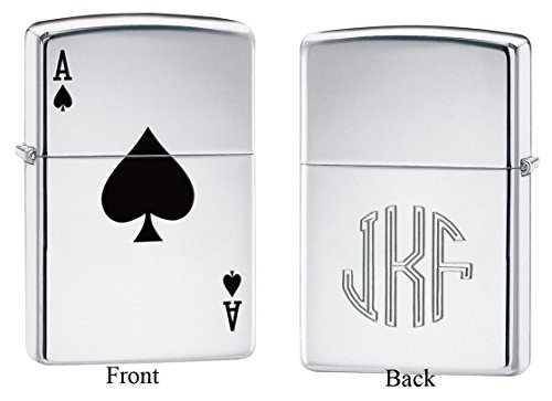 - Personalized Zippo Lucky Ace of Spade Lighter with Free Monogram