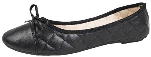 Lora Dora Womens Slip On Quilted Ballet Pumps Faux Patent Leather Suede Toe Cap Ladies Flat Shoes Size UK 3-8 Black Pu gfUkKCo