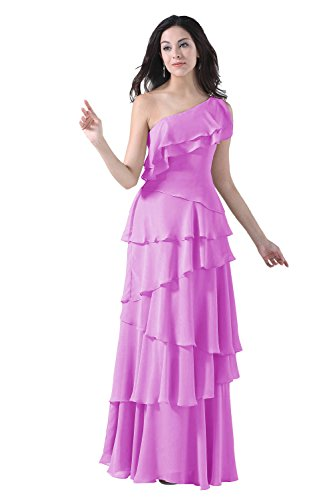 Diyouth One Shoulder Cascading Ruffles Long Chiffon Bridesmaid Prom Dress Lilac Size 10
