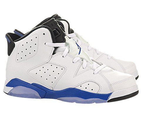 JORDAN Air 6 Retro Little Kids Style, White/Sport Blue/Black, 10.5 by Jordan