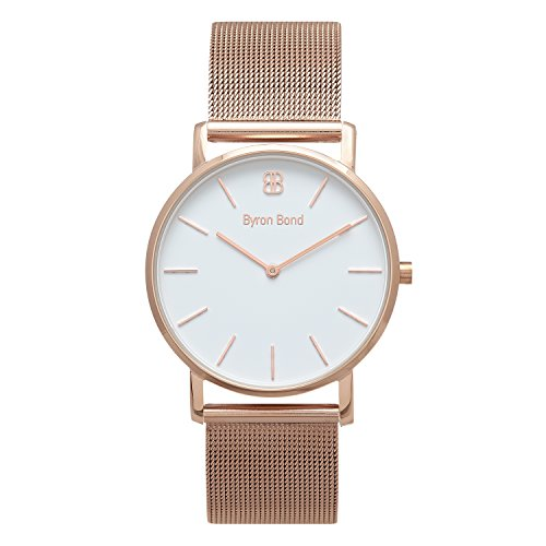 - 38mm Ultra Thin Slim Case Minimalist Fashion Watch for Men & Women by Byron Bond (Dean - Rose Gold Case with White Dial and Rose Gold Mesh Strap)