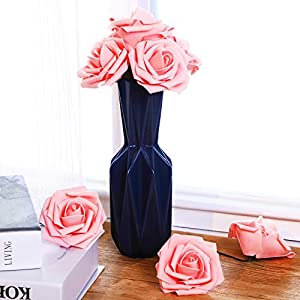 Poen 100 Pieces Artificial Flowers Blush Roses Foam Rose with Stem for DIY Wedding Bouquets Centerpieces Party Baby Shower Home Decorations 2
