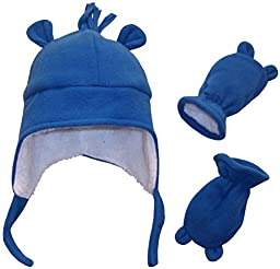 N\'Ice Caps Boys Sherpa Lined Micro Fleece Hat and Mitten Set with Ears (3-6 Months, Infant - Royal)