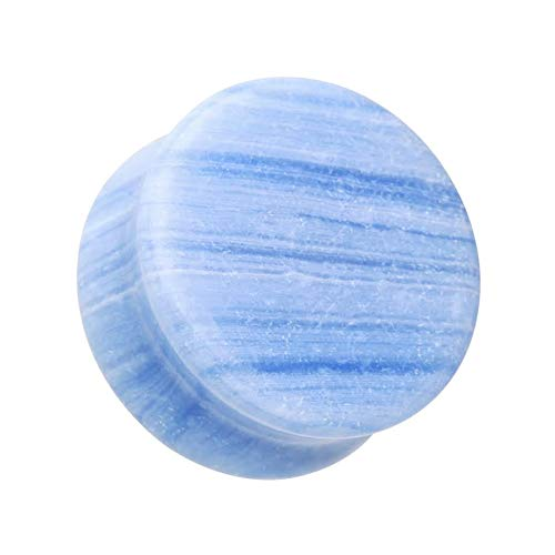 Covet Jewelry Blue Lace Agate Stone Double Flared Ear Gauge Plug