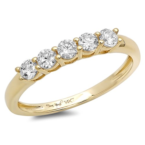 Ring Pave Round Gold (Clara Pucci 0.60 CT Round Cut CZ Designer Pave Bridal Engagement Wedding Ring Band 14K Yellow Gold, Size 7.25)