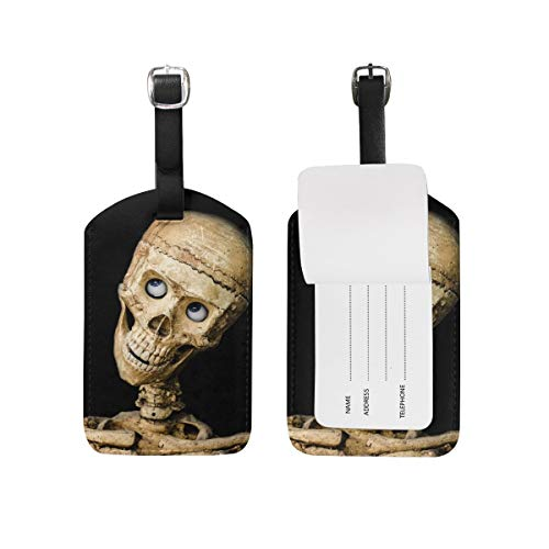 Skull Halloween People Mask Dummy Scary Leather Luggage Bag Tags,Personalized And Stylish Luggage Tag,Travel Suitcase Bag Identify Label 3D High-definition Printing Technology Colorful ID Tags -