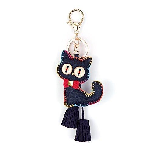 NIKANG Cat Kitty Key Ring Key Chain Key Holder With Tassles Bag Accessories Fashion Item Navy