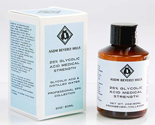 ASDM Beverly Hills 25% Glycolic Acid Peel |2 Ounces| Anti-Aging Treatment for Wrinkles, Acne Scars, Blackheads, Fine Lines, Oily Skin, and Dry Skin- Chemical Exfoliate Dissolves Dead Skin Cells