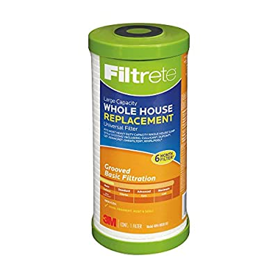 Filtrete Large Capacity Whole House Grooved Water Filter, 5 Microns, Sump Style Drop-In Filter, (4WH-HDGR-F01), 4-Pack