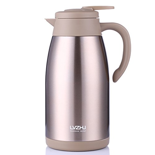 - Stainless Steel Thermal Coffee Carafe 2 Liter,Large Double Walled Insulated Vacuum Flask,12 Hour Heat Retention Beverage Server Pot,With Press Button Easy Open(Golden)