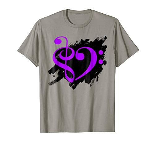 Treble Clef Bass Clef Purple Heart Grunge Brush Strokes Music Lover Bassist T-Shirt