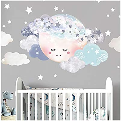 Little Deco Wandaufkleber Kinderzimmer Junge Mond Wolken I M 29 X 19 Cm I Wandtattoo Baby Wandsticker Deko Zimmer Dl445 Amazon De Kuche Haushalt