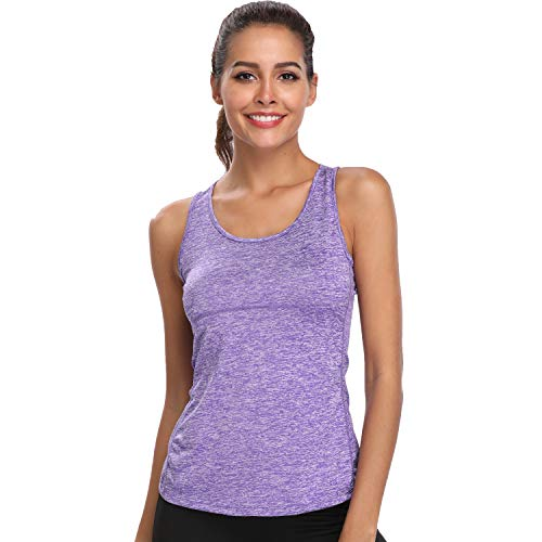 Dri Fit Tank Tops for Women Running Vests Summer Gym Workout Slimming Racerback Sleeveless Shirts (Purple, M)