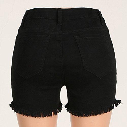 Shorts De Mezclilla Mujeres Cintura Alta Color Puro Elasticidad Corto Vaqueros Negro