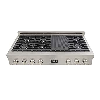 """Kucht KRT4840 Professional 48"""" Natural Gas Range-Top with Sealed Burners and Grill in Stainless Steel"""