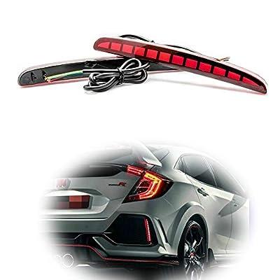 TurningMax Full LED Red Lens Bumper Reflector Lights Brake Tail Lamps for 2020-up Honda Civic Hatchback, Type-R or SI 4-Door Sedan: Automotive