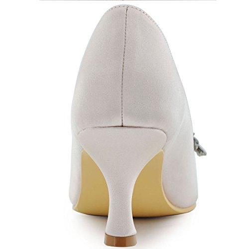 Elegantpark Hp1541 Mujeres Bombas Talón Medio Peep Toe Rhinestones De Flores Satén Noche Prom Zapatos De Boda Beige