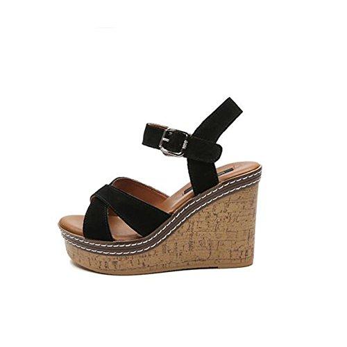 LIXIONG Portátil Sandalias femeninas del verano de 11 cm sandalias coreanas salvajes cómodas de las sandalias de tacón alto de las mujeres -Zapatos de moda ( Color : Negro , Tamaño : EU36/UK3.5/CN35 ) Negro