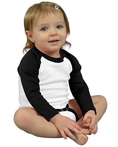 Monag Long Sleeve Raglan Bodysuit 0-3M White/Black (Infant Baseball Shirt)