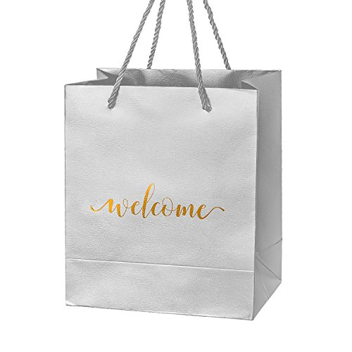 Crisky Silver Specialty Paper Welcome Gift Bags Wedding Welcome Bags for Hotel Guests Shopping Merchandise Bags Party Bags Gift Bags Retail Bags, 25 pcs 4x8x10 inch