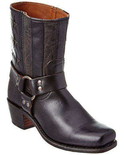 Frye Women's Harness Americana Short Boot Square Toe Black 7 M (Square Toe Harness Boot)