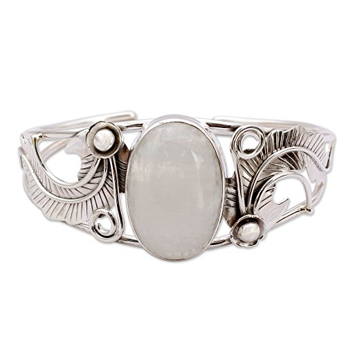 NOVICA Moonstone - Rainbow .925 Sterling Silver Cuff Bracelet 'Eternal Glow' by NOVICA (Image #6)