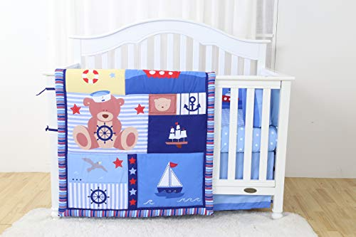Linens And More Modern Luxury Quality 4 Piece Captain Bear Baby Boy Nursery Crib Bedding ()