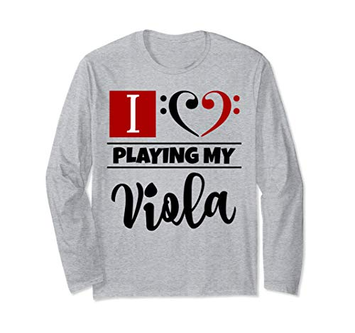 Double Black Red Bass Clef Heart I Love Playing My Viola Long-Sleeve T-Shirt
