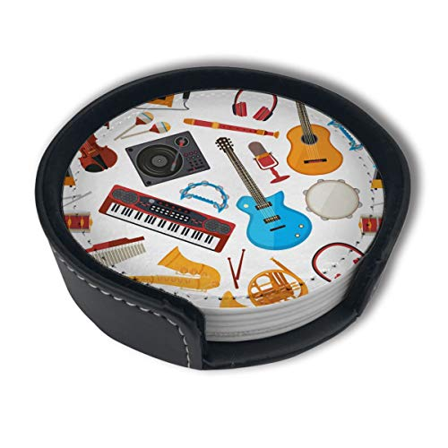 UJNB-Home Speakers Amplifier Music Jazz Guitar PU Leather Coaster Set For Mugs And Cups 6pc