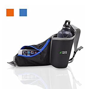 Fitter's Niche MultiFunction Hydration Waist Pack - Shoulder Belt, Water Resistant with Inner Key Bag, Reflective Belt Loops, Exercise Outdoor Workout, Ocean Blue