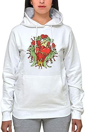 Printed White Cotton Cowl Neck Hoodie & Sweatshirt For Women