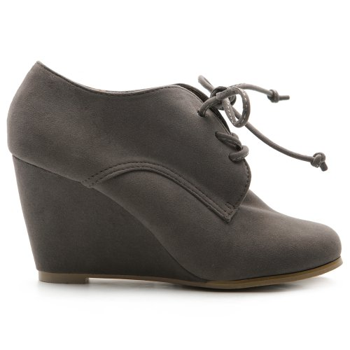 aux Suede Wedge Heel Fashion Ankle Lace Up Boot ZM8902(6 B(M) US, Grey) ()
