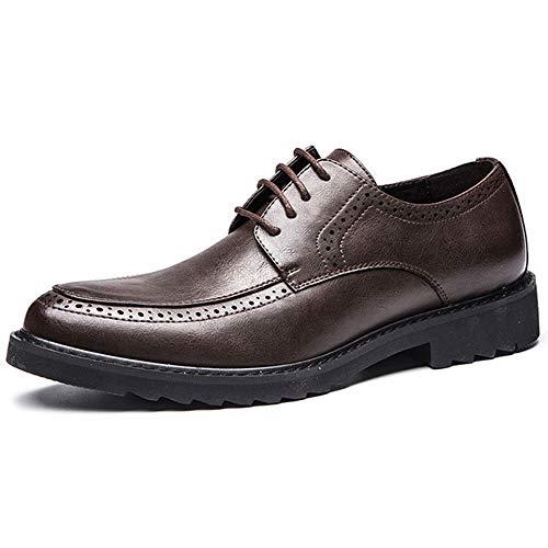 Scarpe Uomo Derby In Pelle Verniciata Scarpe Uniformi Business Formale Scarpe Oxford Con Lacci Da Uomo Scarpe Da Ufficio Con Bretelle Da Sposa Brown