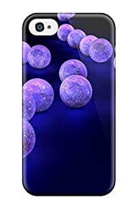 Unique Design Iphone 4/4s Durable PC Case Cover Purple Balls On Black