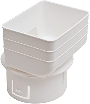 5X5X4, WHITE Plastic Universal Downspout to Drain Tile Adapter
