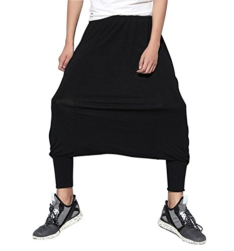 ELLAZHU Men Hippie Big Crotch Solid Harem Pants Pantskirts GYM90 by ELLAZHU
