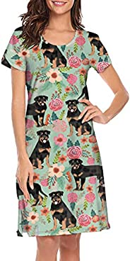 Women's Rottweiler Dog and Floral Funny Nightgown Casual Sleep Dress Crew Neck Night