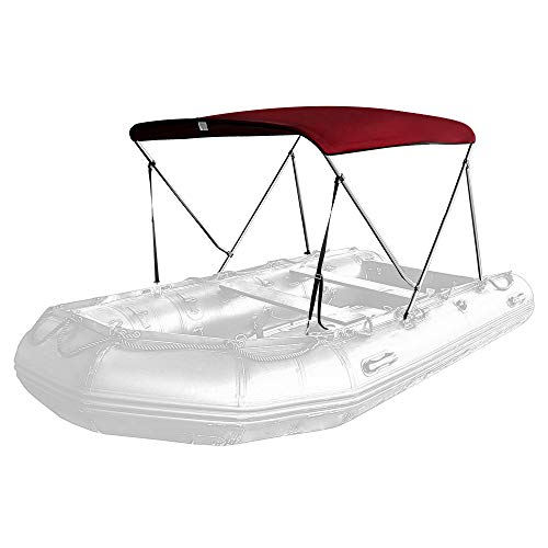 Seamander Inflatable Boat Bimini Tops,Rib Boat Cover with Mounting Hardware (Burgundy, 2 Bow 165 x 130 x 110cm for Rib)