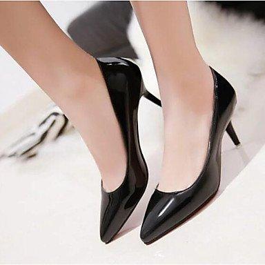 DESY Damen High Heels Pumps Komfort Echtes Leder PU Sommer Normal Schwarz Braun Grün 7,5 - 9,5 cm black