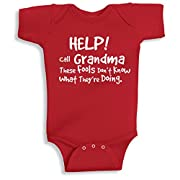 Lil Shirts Help Call Grandma Baby Bodysuit (3-6 Months, Red)