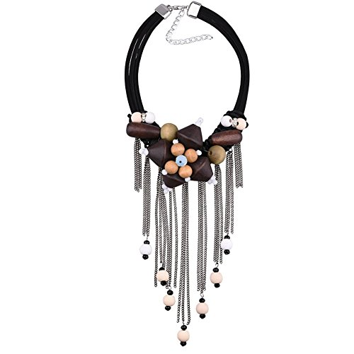 IYOCHO Collar Necklace Vintage Wooden Festoon Beads Tassel -