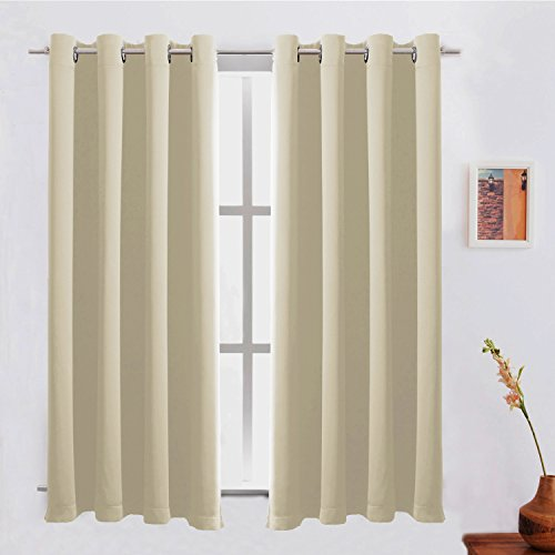 Blackout Curtains /Room Darkening/Light Blocking/Thermal Insulated Draperies With Solid Grommet for Bedroom/Living Room/Dining Room Window Treatments Beige 2 Panels,52 x 63 Inch By FLOWEROOM