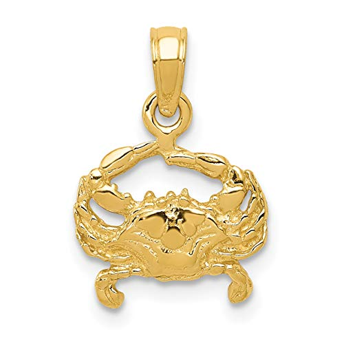 Mireval 14k Yellow Gold Crab Pendant (11 x 16 mm)