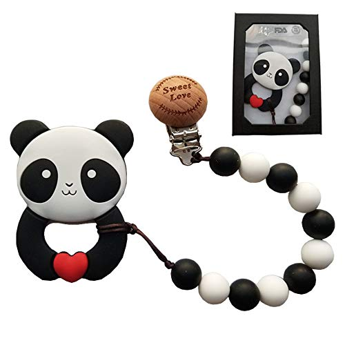 MY BIBY Baby Pacifier Clip, BPA Free Silicone Teething Beads Binky Holder, Baby Girls Boys Shower Gifts Teether Toys, Teething Necklace, Cute Panda Teether