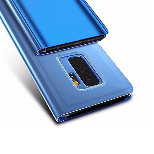 Galaxy S9 Plus Espejo Flip Case Funda, Carcasa Samsung Galaxy S9+, PLECUPE Ultra Slim Claro 360 Degree Cuerpo Completo Folio Book Billetera Funda Estuche con Stand Función, Plating Dura PC Plástico Ba Azul#1