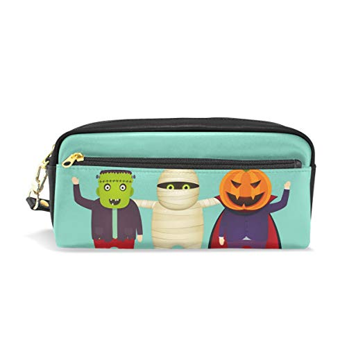 MERRYSUGAR Pencil Case Mummy Halloween Cute Cosmetic Makeup Zipper Bag Pencil Bag for Girls Boys School Kids Stationery Pouch Bag Leather Large Capacity