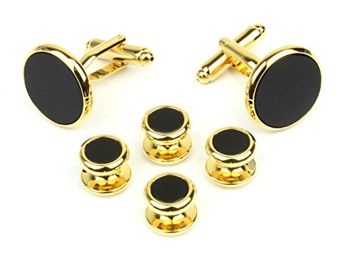- Modern Elements Round Gold Tone and Black Men's Tuxedo Cufflinks and Dress Shirt Studs Set - Classic Formal Attire
