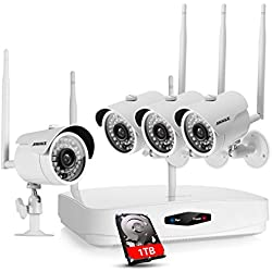 ANNKE 4-channel 720P Wireless Security Camera System and (4) 720P Bullet Night Vision IP Cameras with Motion Detection Alarm 1TB HDD Included